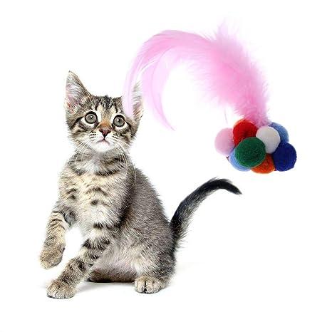 Yanhonin Juguete para Gatos, Juguete coloré cascabeles a la Mano en Plumas Bola Juguete interactiva