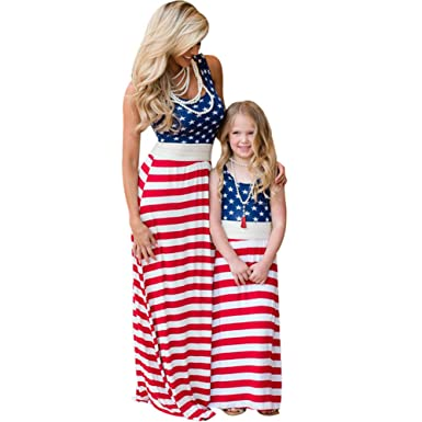 b6b3071d0a 4th of July Mother Daughter Dress American Flag Family Matching Outfit Look Set  Mommy and Me Stripe Tassel Clothes at Amazon Women's Clothing store: