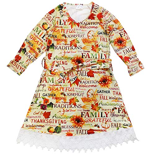 So Sydney Girls or Toddler Fall Holiday Polka Dot, Scroll, Stripe Pumpkin Dress (S (3T), Fall Harvest Belted)
