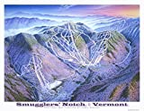 Poster Print entitled 'Smugglers Notch'. Smugglers' Notch's slopes are facing north and west which begged for this sunset view. Stowe Vermont is seen beyond the notch. Lifts and elevations are indicated on this art print. Multiple sizes avail...