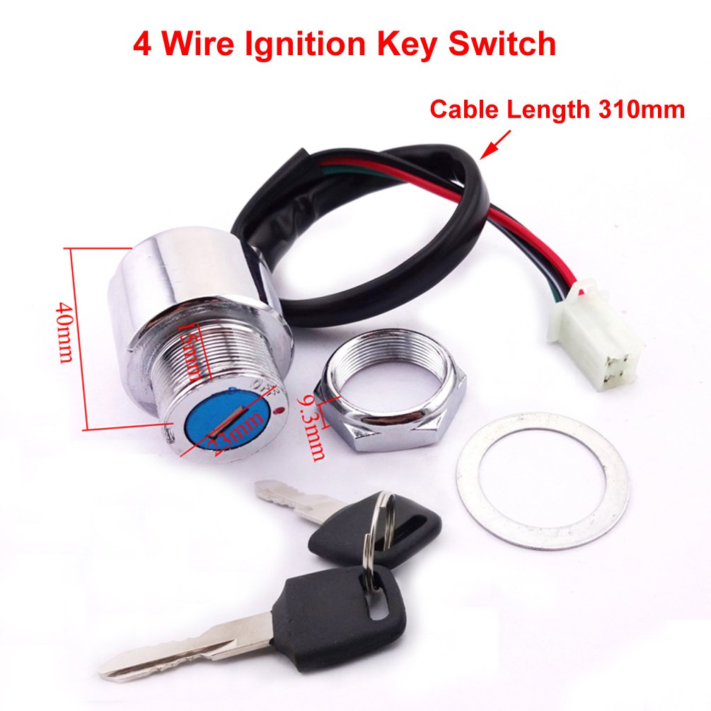 Xljoy 4 Wire Ignition Key Switch For Chinese Scooter Atv 1949 Dodge Wiring Buggy Go Kart Dirt Bike Wheeler Automotive