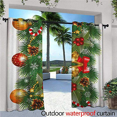 Christmas Outdoor Privacy Curtain for Pergola Pine Tree Branch Detailed Ornaments Bells Berries and Cones Cheerful Holiday Noel Thermal Insulated Water Repellent Drape for Balcony W72