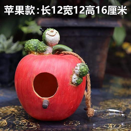Adornos de Exterior para el jardín Colgante Creativo de decoración de Nido de pájaro@Imitación de Adornos de Nido de pájaro de Manzana: Amazon.es: Jardín