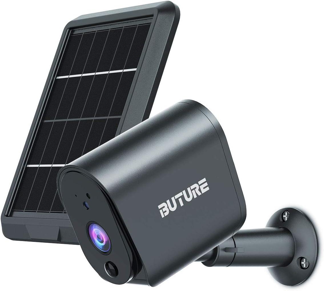 Cámara Seguridad Exterior, BuTure WiFi Cámara vigilancia batería Recargable energía Solar, Cámara inalámbrica 1080P, Visión Nocturna, Detección Movimiento PIR, Audio bidireccional, IP65 (Gris)