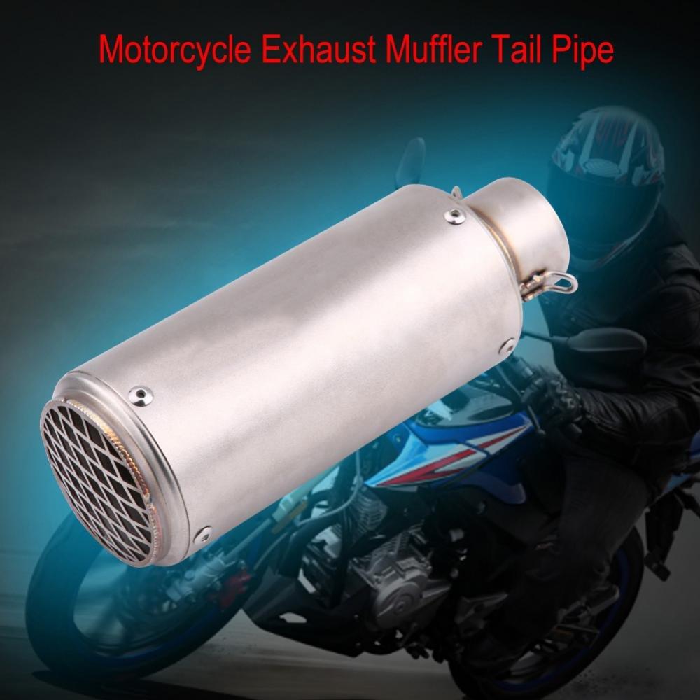 Qiilu Tuyau D/échappement Silencieux En Acier Inoxydable Universel Moto D/échappement Silencieux Tail Pipe Astuce Tailpipe Argent