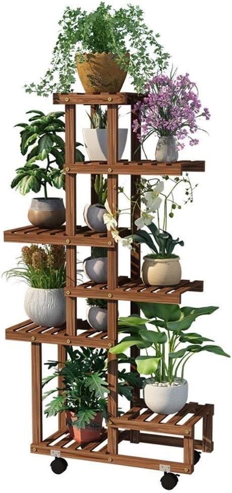 GJX- Estante para Flores Escalera para Flores con Ruedas Estantería De Madera para Plantas Planta De Pie Estante Exterior Soporte Macetas: Amazon.es: Hogar