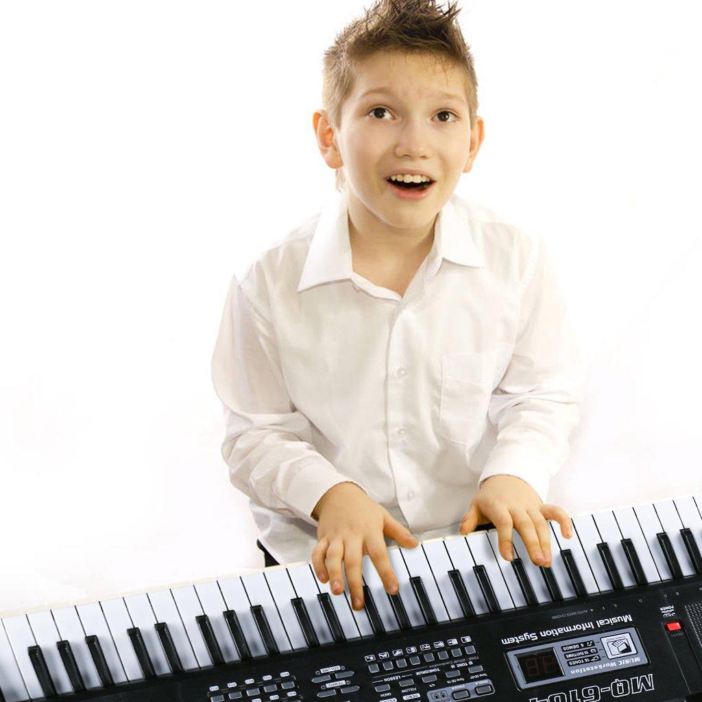 Multifunktions 61 Mini-Tasten Musik Klaviertastatur Tragbare Elektronische Musikinstrument mit Mikrofon Für Kinder Geschenk,ideal für Kinder und Einsteiger,umfangreiche Lernfunktion