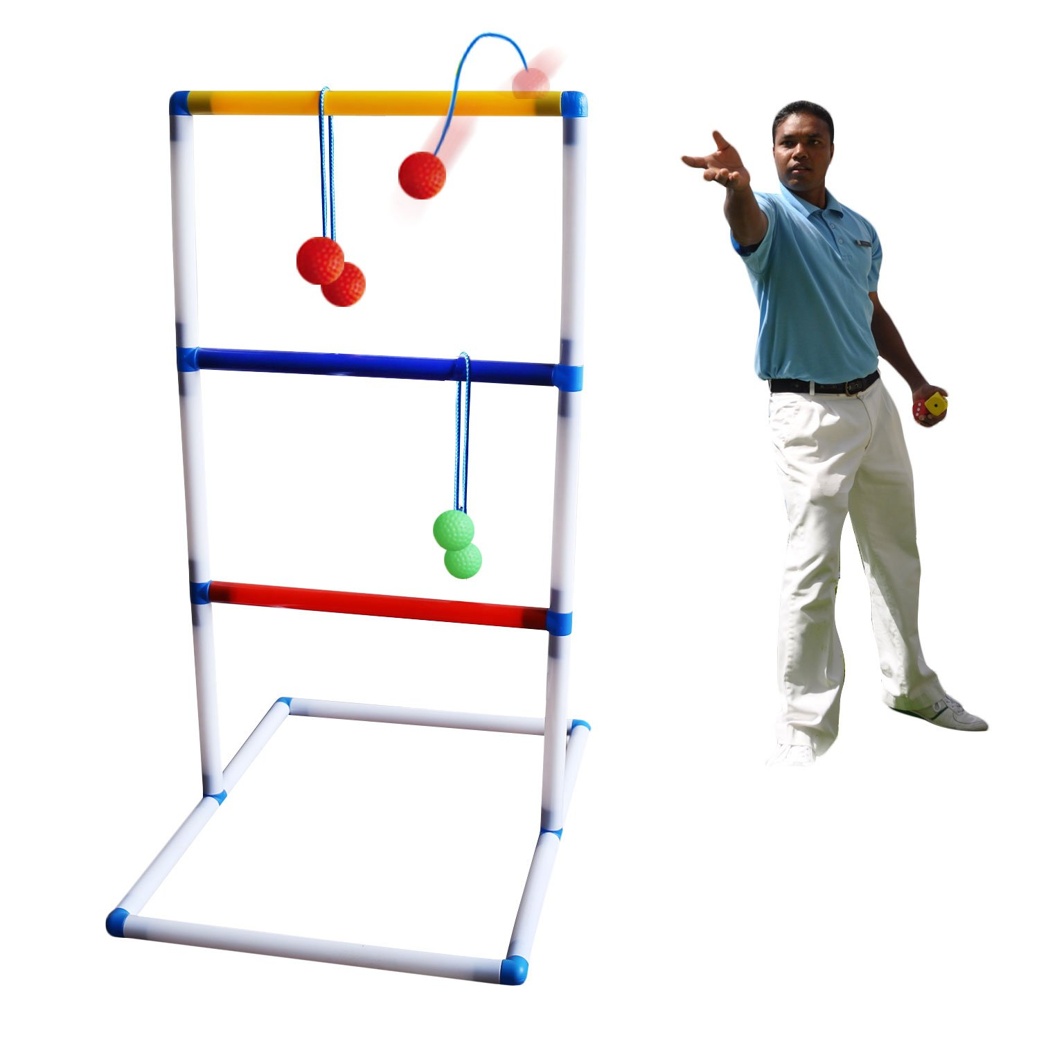 Freshday Ladder Toss Ball Game Set, One Piece Game Set for Adults & Kids, for Backyard, Beach, Lawn, Pool, Camping
