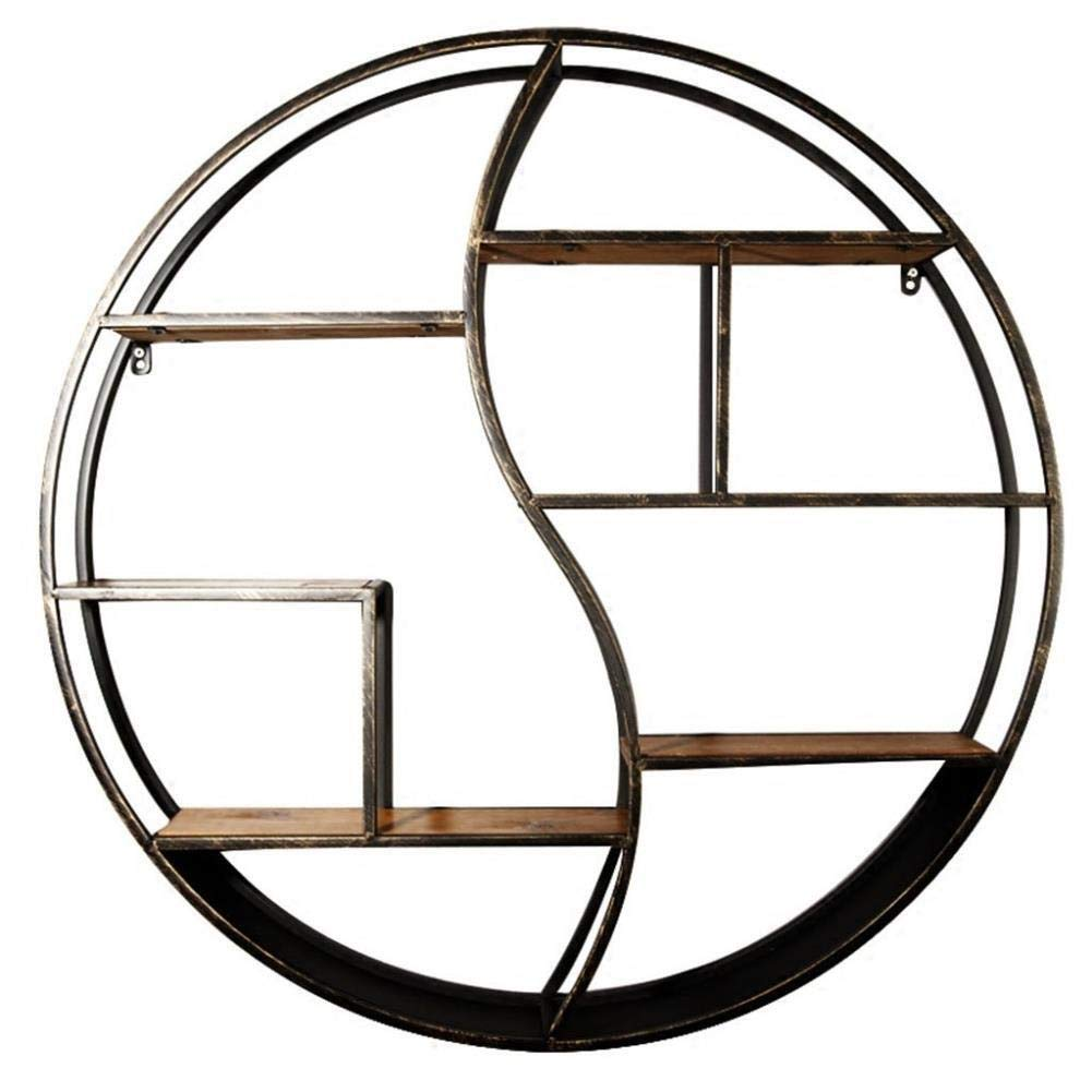 Dciszl Flower Stand Plant Frame Round Metal Wall Mount/Storage Rack Home Office/Attic Wall Hanging Flower Stand/Floating Frame Unit Frame (6 Layers) (Size : 606012cm)