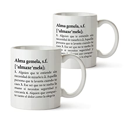 Set de Tazas con Impresión – Definición de Alma Gemela – Taza Original Blanca – Regalo