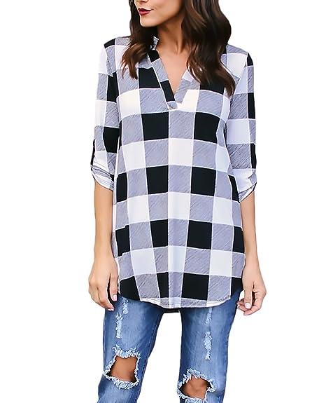 nuova collezione cb7e3 3dd62 Saoye Fashion Camicia Donna Elegante Manica Lunga V Scollo A ...