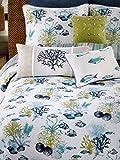 Coastal Under Water Tropical Fish Coral Seashells Aqua Blue Green White 3 PC Quilt Set FULL QUEEN