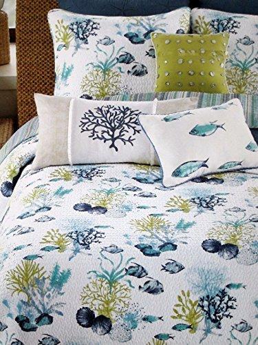 Nantucket Nautical Throw (Coastal Under Water Tropical Fish Coral Seashells Aqua Blue Green White 3 PC Quilt Set FULL QUEEN)