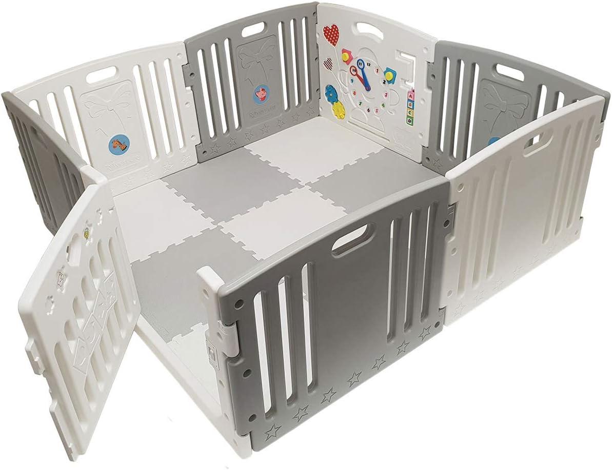Venture All Stars Duo parque infantil bebe Gris para Bebés incluye colchonetas y pelotas