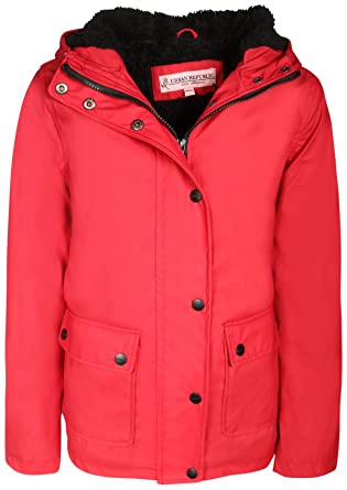 c1f9bc2cd78 Amazon.com  Urban Republic Girls Hooded Rain Jacket with Fur Lining ...