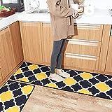HEBE Kitchen Rugs Set 2 Piece Non Slip Kitchen Rugs Mats Sets Kitchen Runner Rug Doormats Set Machine Washable Moroccan Trellis Black Yellow