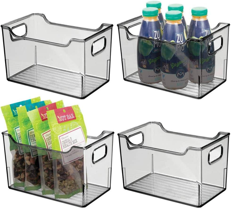 "mDesign Plastic Kitchen Pantry Cabinet, Refrigerator or Freezer Food Storage Bin with Handles - Organizer for Fruit, Yogurt, Snacks, Pasta - BPA Free, 10"" Long, 4 Pack - Smoke Gray"