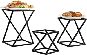 MyGift Twisting Geometric Matte Black Metal Pizza Riser Racks/Food Display Stands, Set of 3