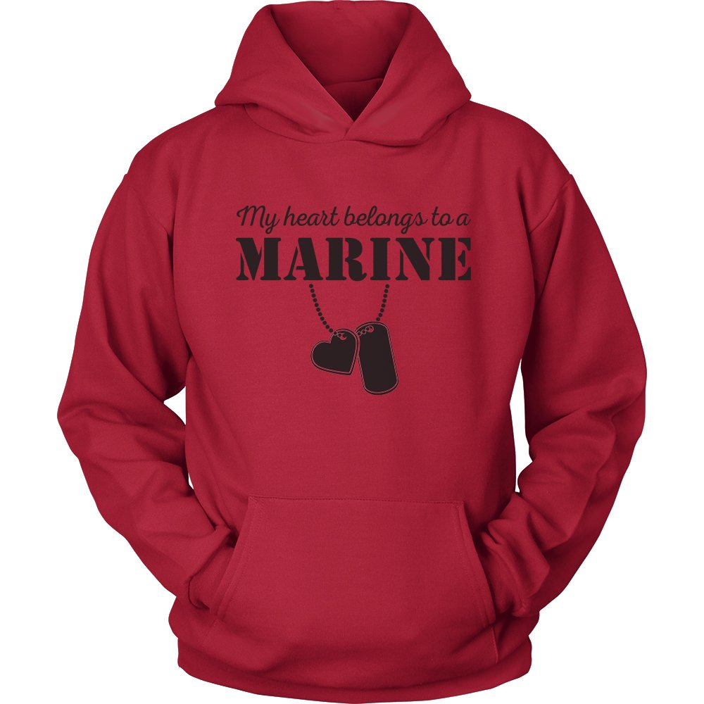 Egoteest USMC Hoodie - My Heart Belongs To a Marine - Marine Corps USMC Girlfriend Hoodie - US Army Girlfriend Shirt - I Love a Marine (Red, Medium)