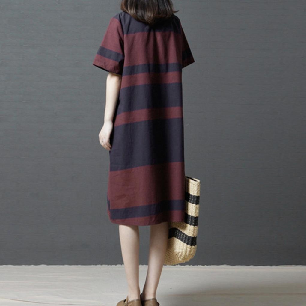 Gyoume Linen Dress Loose Women Short Sleeve Maxi Lovly Sqaa Striped Summer Knee Length Clothing