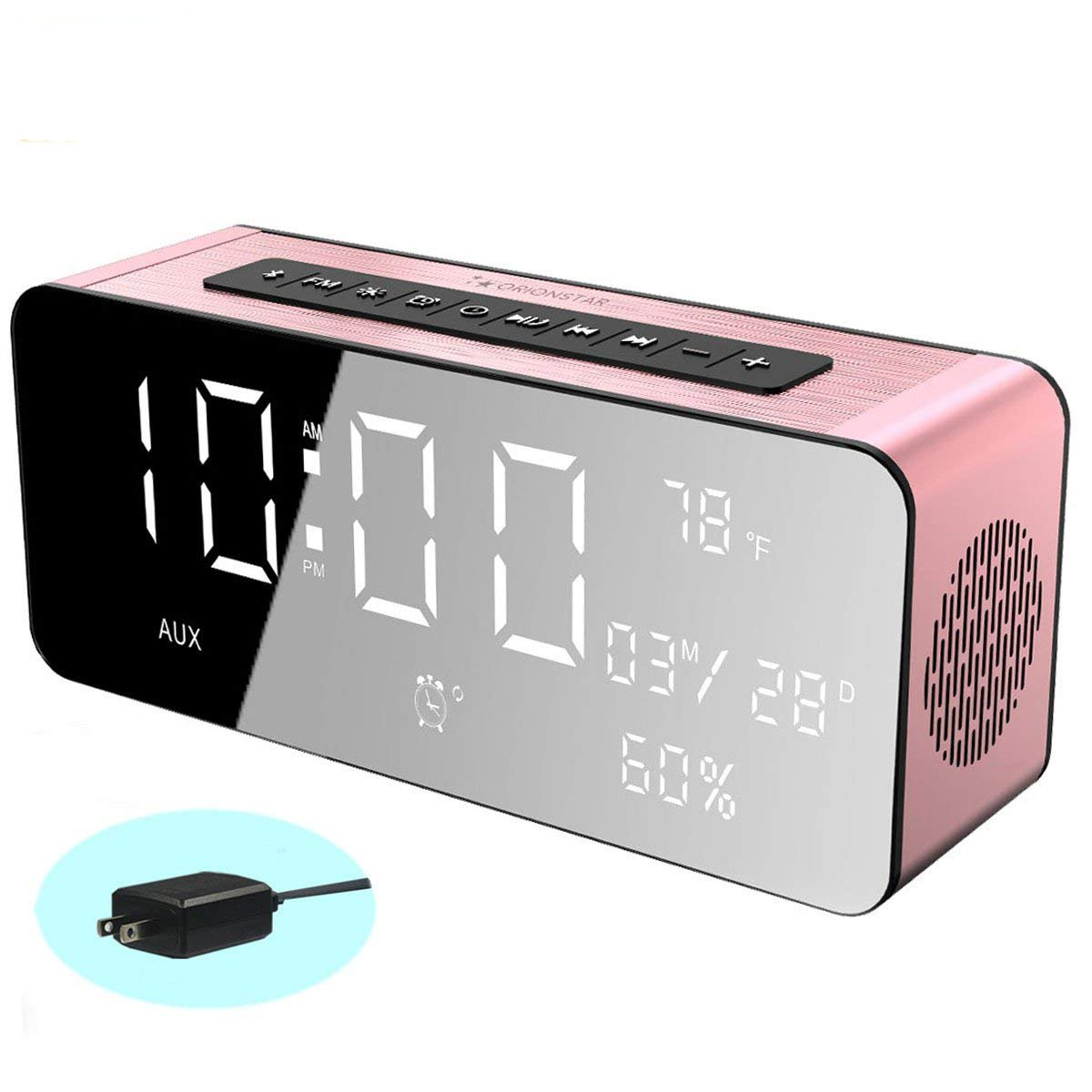 Orionstar Wireless Bluetooth Alarm Clock Radio Speaker with HD Sound&Big Digital Screen Compatible with iPhone/Android/PC4/Aux/MicroSD/TF/USB for Bedroom Office Model A10 with Wall Charger (Pink)