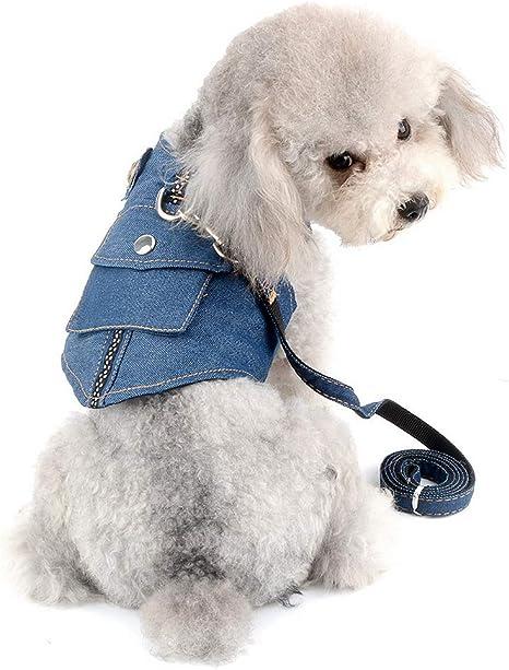 SELMAI Arnés para Perro Mascota Conjunto de Correa de Mezclilla ...