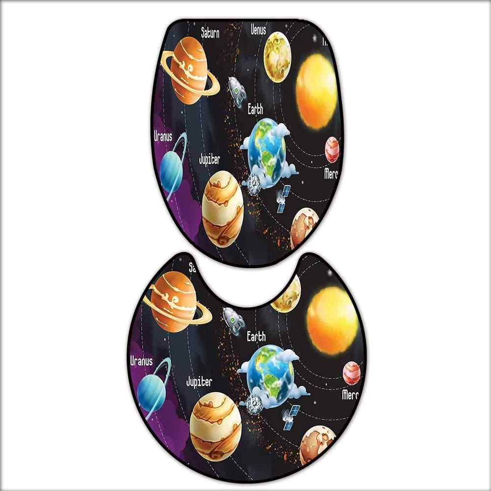 qianhehome 2 Piece Bathroom Rug Set Solar System of Planets Milk Way Neptune Venus Mercury Sphere Horizontal Illustration Mat Non Slip Toilet Lid Toilet 16''x19''-D28
