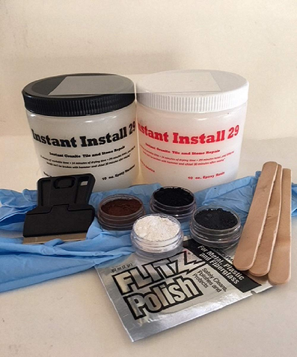 INSTANT INSTALL COMPLETE ~ 20 oz. kit ~ Stone&Tile Repair ~Black, Brown, White, Gray EZ TINT Pigments ~ Scraping Razor ~ Acetate Curing Strip ~ Gloves ~ 3 Mix Sticks ~ Polishing Paste
