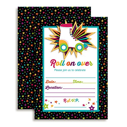 Roller Skating Birthday Party Invitations, Ten 5''x7'' Fill In Cards with 10 White Envelopes by AmandaCreation by Amanda Creation