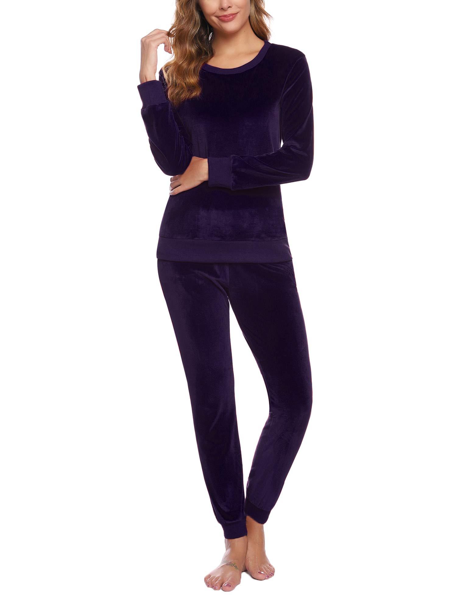 Abollria Women's Solid Velour Sweatsuit Set Sport Suits Tracksuits Purple by Abollria