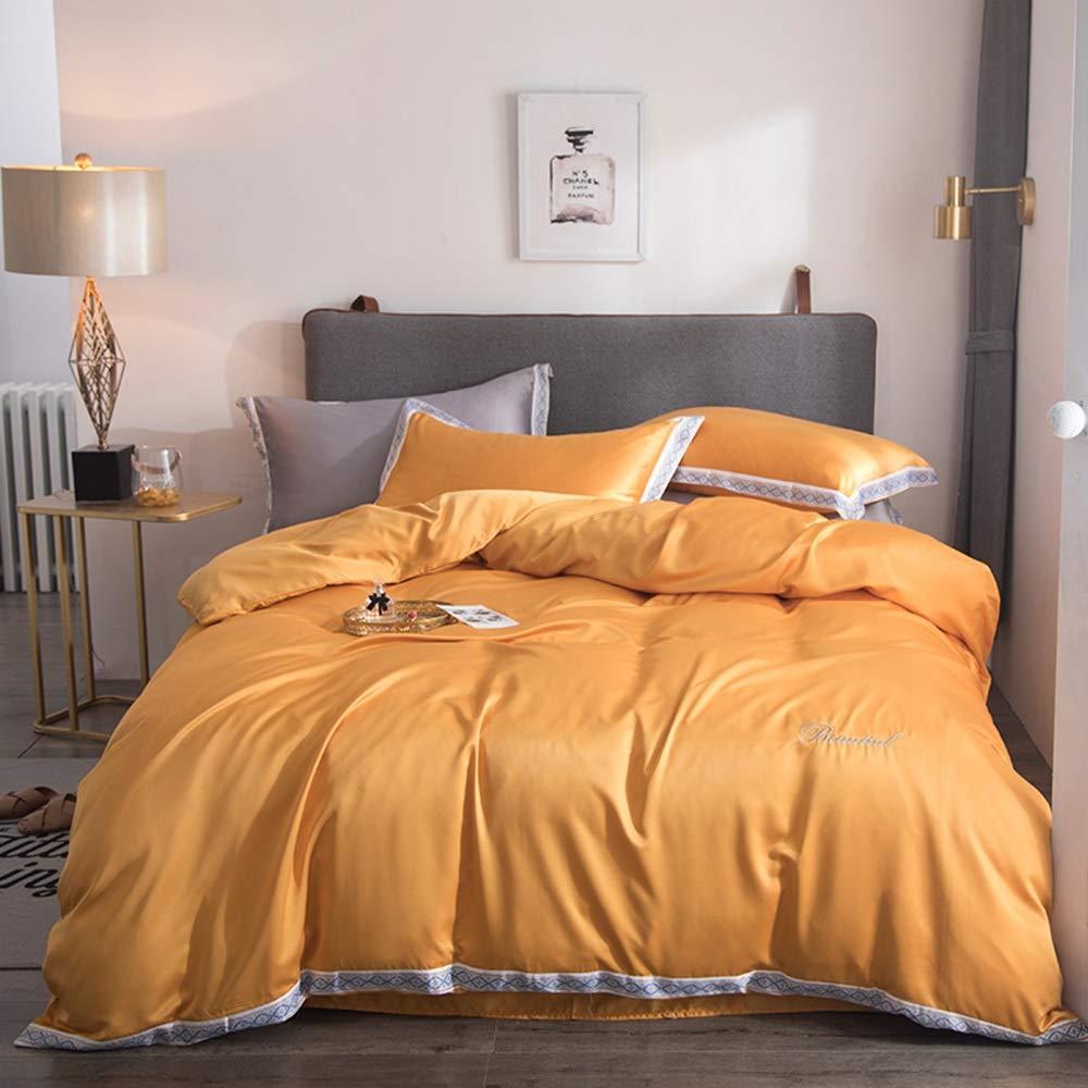 CSYP 春と夏の新しいヨーロッパのベッドリネン裸睡眠洗浄シルク4ピースアイスシルクシーツキルトカバーシルクキルトカバー (Color : Orange) B07Q56ZCRT