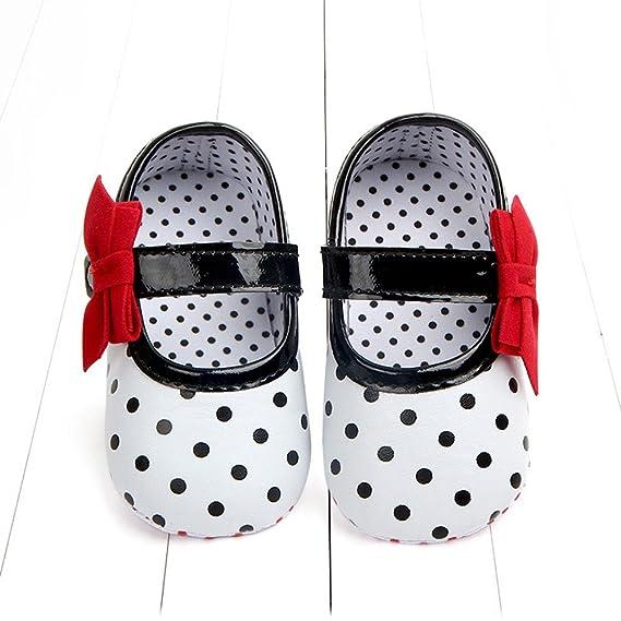 ❤ Zapatos recién Nacidos Antideslizantes Bowknot,Zapatillas Informales de Suela Blanda Bowknot con Estampado de Puntos para niños pequeños Absolute: ...