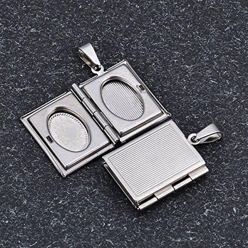 HooAMI Story Bible Book Shape Charm Pendant Picture Photo Locket Necklace 2pcs