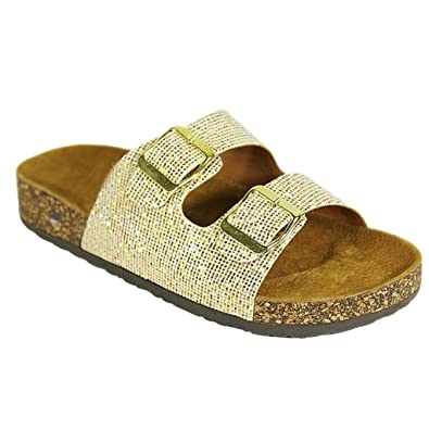 Women Casual Buckle Straps Sandals 05 US (Gold Glitter-A)