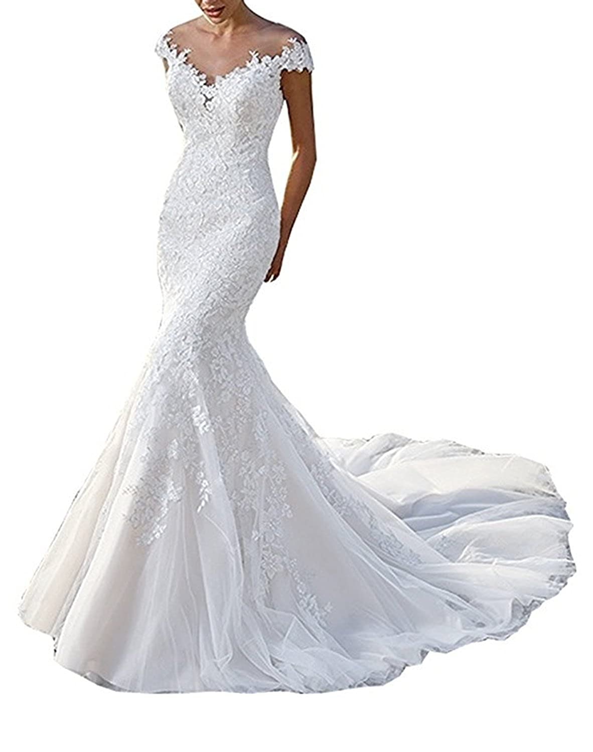 Beautbride Womens Sheer Neck Mermaid Lace Wedding Dress Cap Sleeve