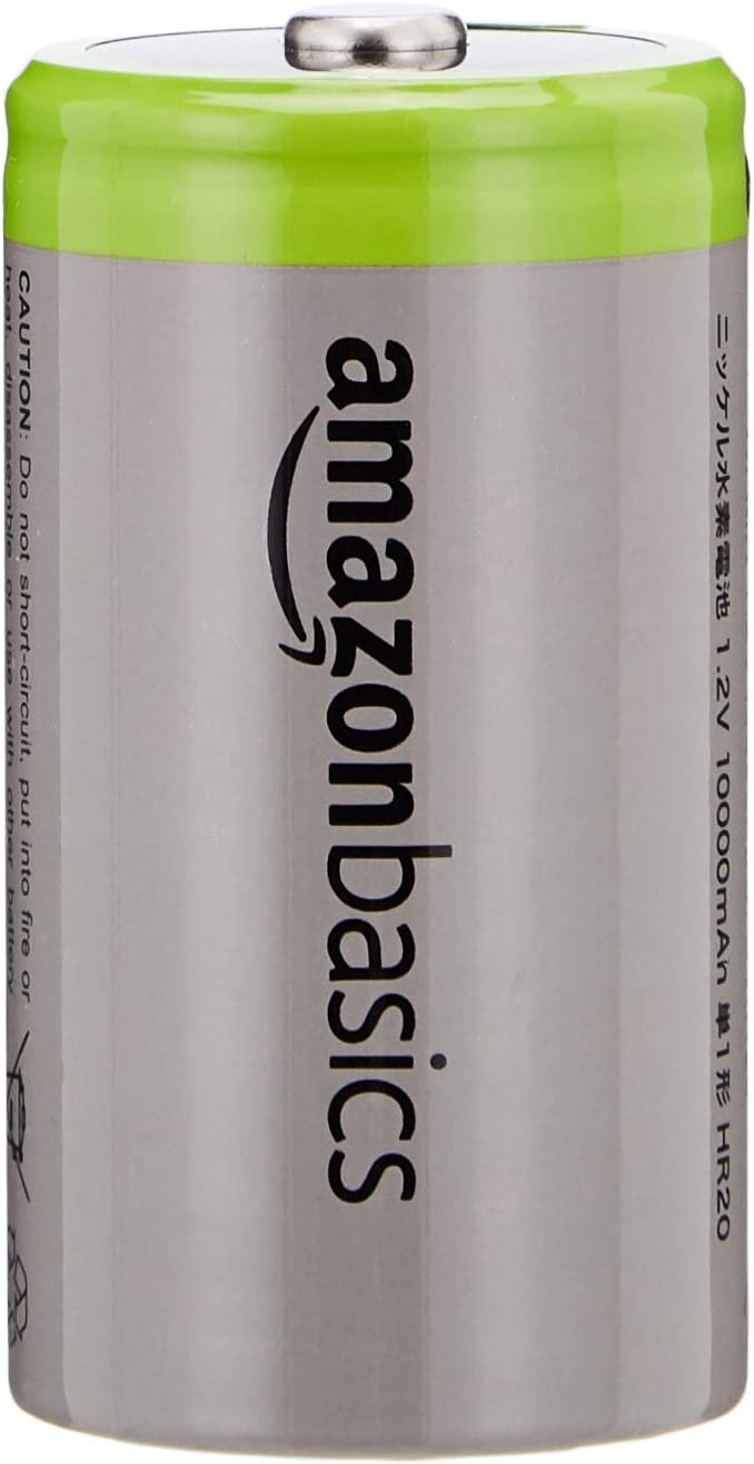 AmazonBasics D Cell Rechargeable Batteries 10000mAh Ni-MH, 4-Pack