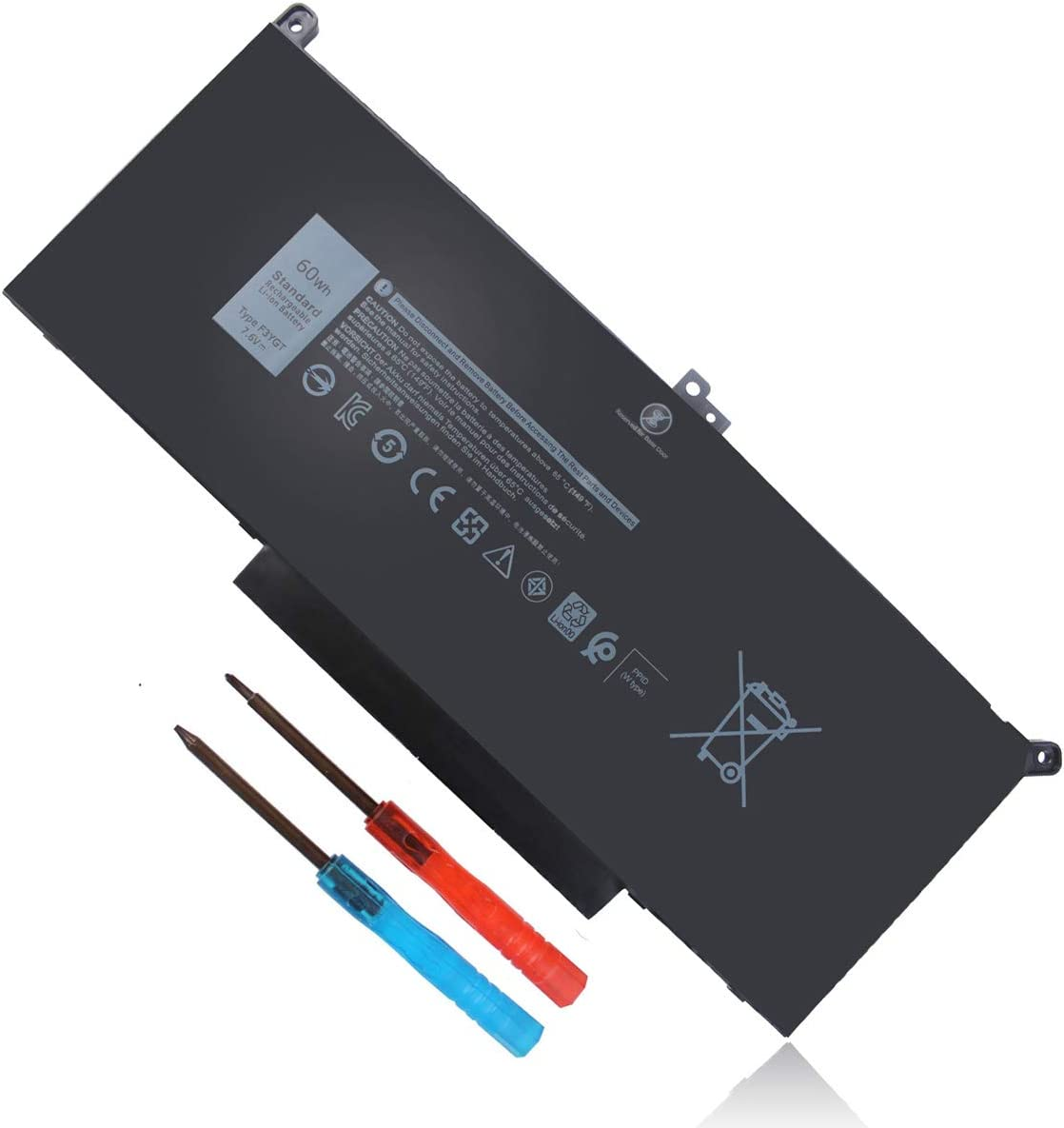 7.6V 60Wh Type F3YGT Battery for Dell Latitude 7480 7490 7280 7290 7380 7390 P73G001 P73G002 P28S001 P28S002 P29S002 DM3WC 2X39G DM6WC 451-BBYE 453-BBCF P28S P73G KG7VF 4-Cell