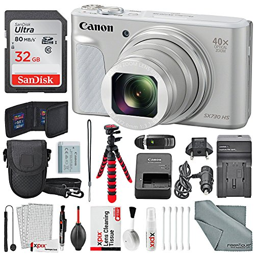 Canon PowerShot SX730 HS Digital Camera (Silver) Deluxe Bundle w/ 32 GB+ Xpix Tabletop Tripod,+ Traveling Charger+ Xpix Cleaning Kit