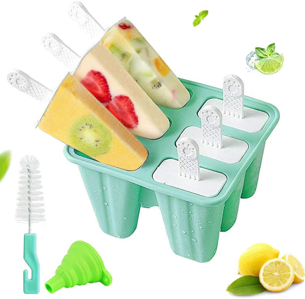 Popsicle Molds 6 Pieces Silicone Ice Pop Molds, BPA Free Popsicle Mold Reusable Easy Release Ice Pop Maker with Silicone Funnel and Cleaning Brush,Green