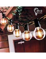 tronisky Cadena de Bombillas, Luces de Cadena G40 Guirnaldas Luminosas de Exterior y Interiores Guirnalda de Luces Decorativas 25 Bombillas para Jardines, Casas, Boda, Fiesta de Navidad