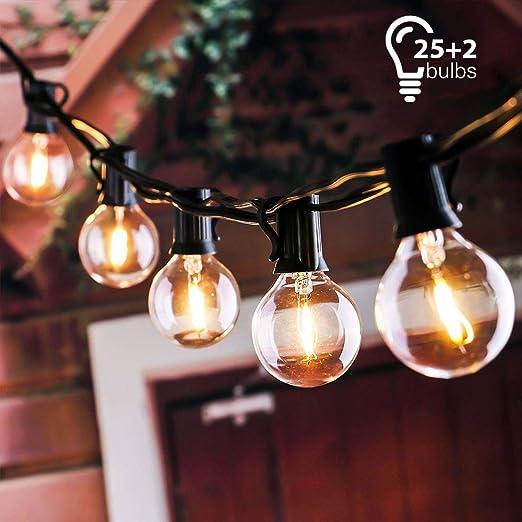 tronisky Guirnaldas Luminosas, Guirnalda de Luces Impermeable Guirnalda Cadena de Luces 7.62M con 25 G40 Bombillas Decoración Exterior y Interior para Jardín, Patio, Navidad, Casa, Boda: Amazon.es: Hogar