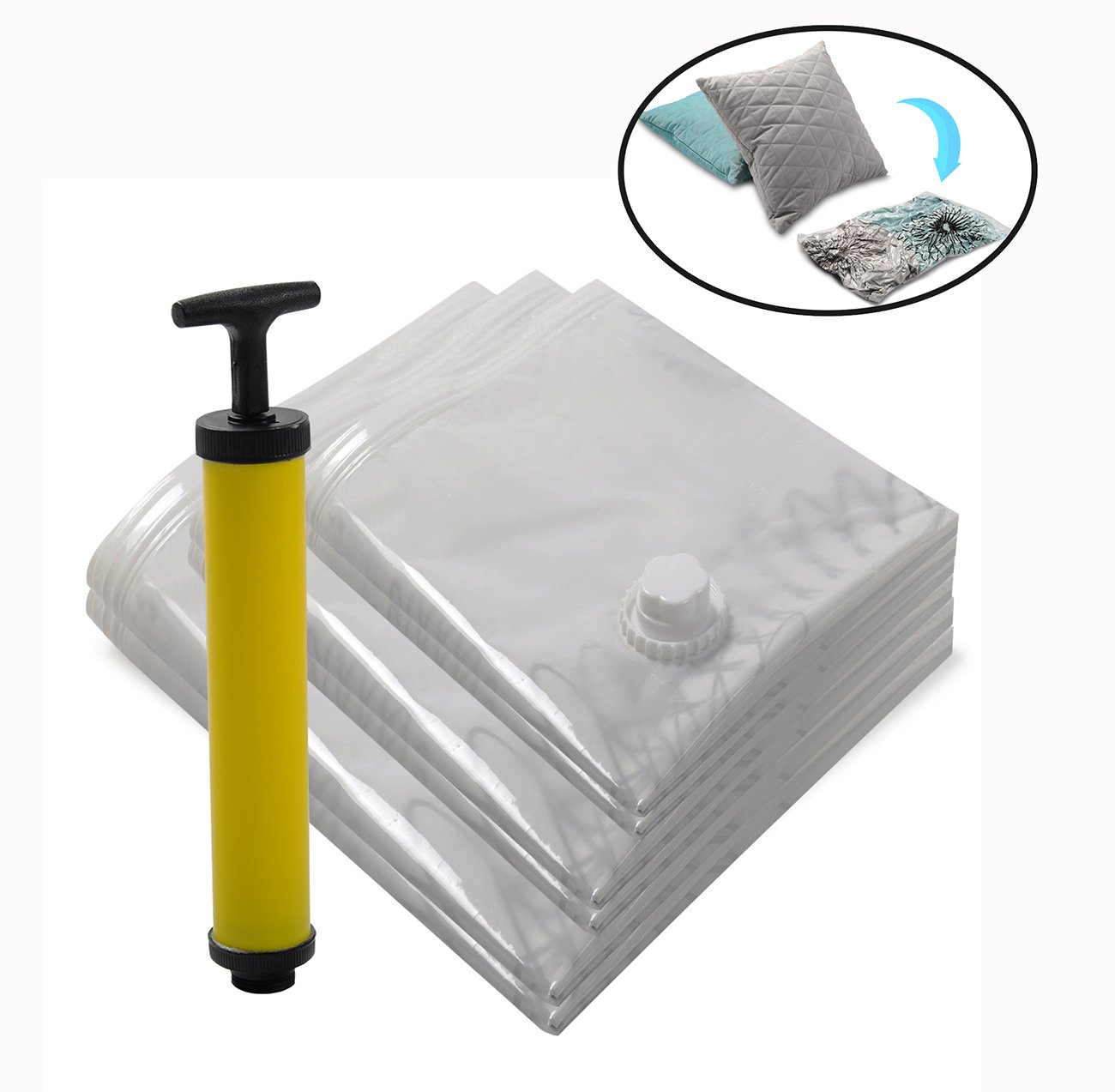 WOLTU Vacuum Storage Bags Set of 6 ,Save 80/% Space for Clothes,Pillows/&Bedding,Travel Luggage-VSB01S06 2 Small,2 Medium,2 Large