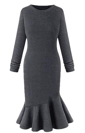 Comfy-Women Scoop Neck Solid Long-Sleeved Mermaid?Dress Evening Dresses at Amazon Womens Coats Shop