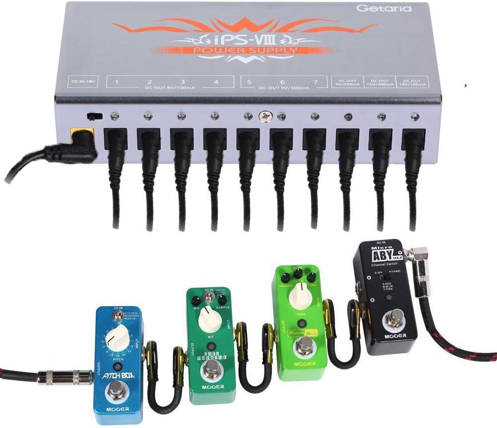 Sliver Getaria Guitar Pedal Power Supply 10 Isolated DC Output for 9V//12V//18V Effect Pedal