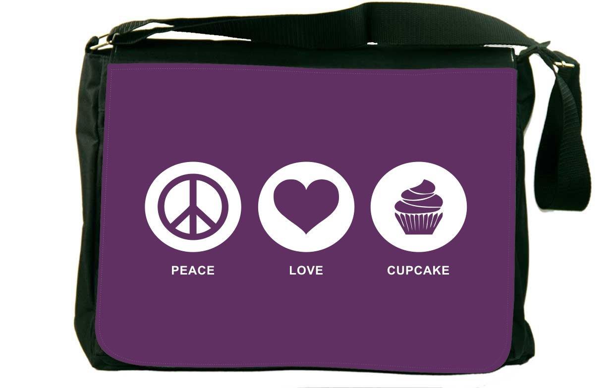 Rikki Knight Peace Loveカップケーキパープル色メッセンジャーバッグスクールバッグ   B01IJP9HRE