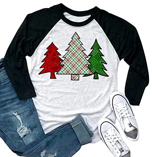efbac721 Amazon.com: Christmas Tree Baseball T-Shirt Women 3/4 Sleeve Cute Graphic  Print Holiday Casual Tee Tops: Clothing