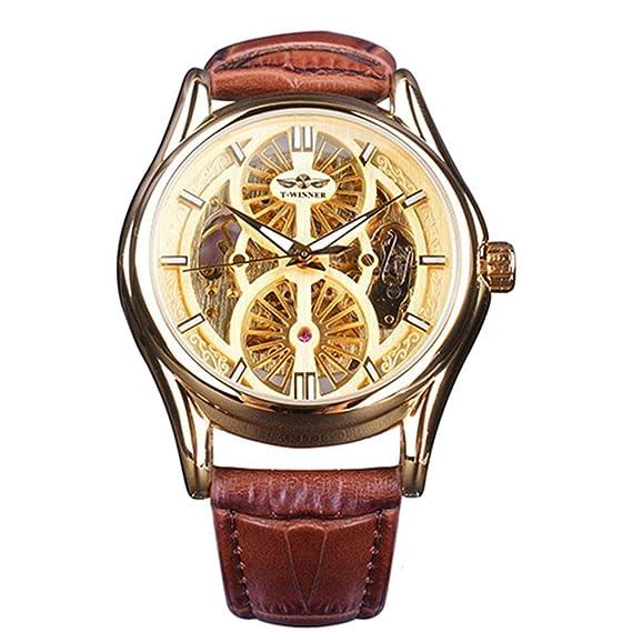 Winner Golden Gear Movimiento Interior Skeleton Hombres Reloj de Pulsera de Cuero de Lujo Moda automático Reloj de Pulsera Transparente: Amazon.es: Relojes