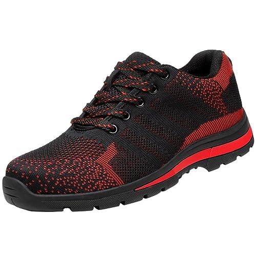 Ligeras Zapato Zapatillas De Seguridad para Hombres Trabajo con Tapa Acero Industria Calzado Deporte Antideslizantes: Amazon.es: Zapatos y complementos