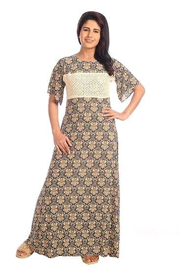 285eaf03c8 IMJI Nightwear Floral Printed Knitted Umbrella Green Long Nighty for Women  Size M & XL (