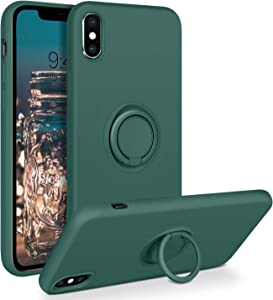 BENTOBEN iPhone Xs Max Case, Slim Silicone Cover with 360° Ring Holder Kickstand for Magnetic Car Mount Anti-Scratch Non-Slip Ptotective Case for iPhone Xs Max 6.5 inch, Dark Green